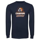 Navy Long Sleeve T Shirt-2019 CCIW Football Champions