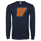 Navy Long Sleeve T Shirt-W