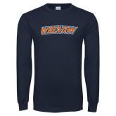 Navy Long Sleeve T Shirt-Athletics Wordmark