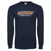 Navy Long Sleeve T Shirt-Wheaton Athletics