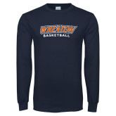 Navy Long Sleeve T Shirt-Wheaton Basketball