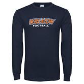 Navy Long Sleeve T Shirt-Wheaton Football