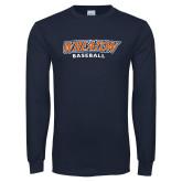 Navy Long Sleeve T Shirt-Wheaton Baseball