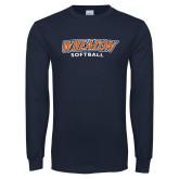 Navy Long Sleeve T Shirt-Wheaton Softball