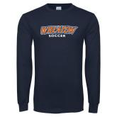 Navy Long Sleeve T Shirt-Wheaton Soccer
