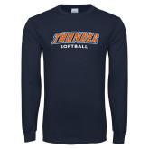 Navy Long Sleeve T Shirt-Thunder Softball