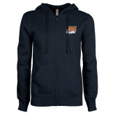 ENZA Ladies Navy Fleece Full Zip Hoodie-Primary Athletics Mark
