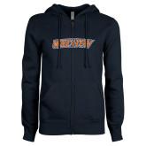 ENZA Ladies Navy Fleece Full Zip Hoodie-Athletics Wordmark