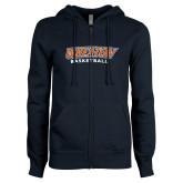 ENZA Ladies Navy Fleece Full Zip Hoodie-Wheaton Basketball