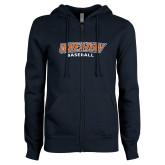 ENZA Ladies Navy Fleece Full Zip Hoodie-Wheaton Baseball