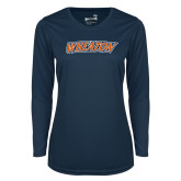 Ladies Syntrel Performance Navy Longsleeve Shirt-Athletics Wordmark