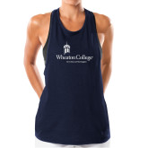 Ladies Under Armour Navy Pinhole Tank-Primary Mark