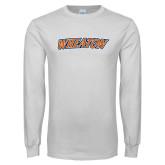 White Long Sleeve T Shirt-Athletics Wordmark