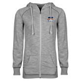 ENZA Ladies Grey/Black Marled Full Zip Hoodie-Primary Athletics Mark