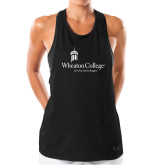 Ladies Under Armour Black Pinhole Tank-Primary Mark