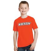 Youth Orange T Shirt-Athletics Wordmark