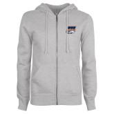 ENZA Ladies Grey Fleece Full Zip Hoodie-Primary Athletics Mark