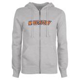 ENZA Ladies Grey Fleece Full Zip Hoodie-Athletics Wordmark