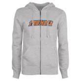 ENZA Ladies Grey Fleece Full Zip Hoodie-Thunder Wordmark