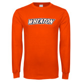 Orange Long Sleeve T Shirt-Athletics Wordmark