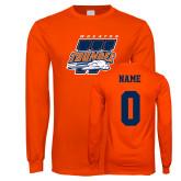 Orange Long Sleeve T Shirt-Primary Athletics Mark, Custom tee w/ name and #