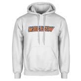 White Fleece Hoodie-Athletics Wordmark