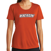 Ladies Performance Orange Tee-Athletics Wordmark