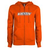 ENZA Ladies Orange Fleece Full Zip Hoodie-Athletics Wordmark