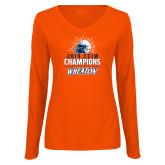 Ladies Orange Long Sleeve V Neck Tee-2019 CCIW Football Champions