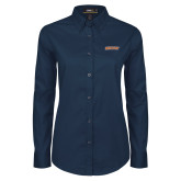 Ladies Navy Twill Button Down Long Sleeve-Athletics Wordmark