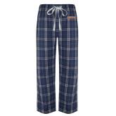 Navy/White Flannel Pajama Pant-Athletics Wordmark