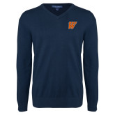 Classic Mens V Neck Navy Sweater-W