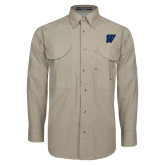 Khaki Long Sleeve Performance Fishing Shirt-W
