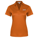 Ladies Orange Performance Fine Jacquard Polo-Athletics Wordmark