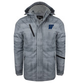 Grey Brushstroke Print Insulated Jacket-W