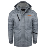 Grey Brushstroke Print Insulated Jacket-Athletics Wordmark