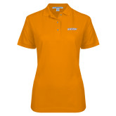 Ladies Easycare Orange Pique Polo-Athletics Wordmark