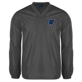 V Neck Charcoal Raglan Windshirt-W