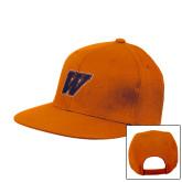 Orange Flat Bill Snapback Hat-W