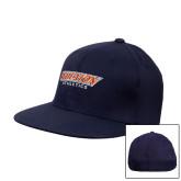 Navy OttoFlex Flat Bill Pro Style Hat-Wheaton Athletics