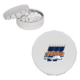 White Round Peppermint Clicker Tin-Primary Athletics Mark