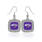 Crystal Studded Square Pendant Silver Dangle Earrings-WCU w/Head
