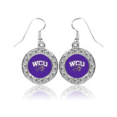 Crystal Studded Round Pendant Silver Dangle Earrings-WCU w/Head