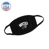 USA Made Black 3 Ply Cotton Mask-WCU w/Head 1 Color