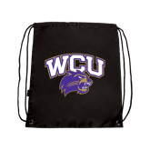 Nylon Black Drawstring Backpack-WCU w/Head