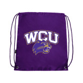 Nylon Purple Drawstring Backpack-WCU w/Head