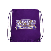 Nylon Purple Drawstring Backpack-Western Carolina Catamounts