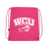 Nylon Pink Drawstring Backpack-WCU w/Head