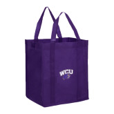 Non Woven Purple Grocery Tote-WCU w/Head