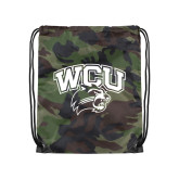 Nylon Camo Drawstring Backpack-WCU w/Head